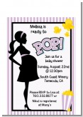Ready To Pop Purple - Baby Shower Petite Invitations