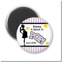Ready To Pop Purple - Personalized Baby Shower Magnet Favors