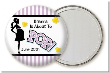 Ready To Pop Purple - Personalized Baby Shower Pocket Mirror Favors