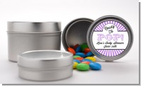 Ready To Pop Purple Stripes - Custom Baby Shower Favor Tins