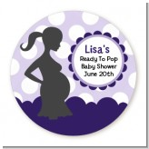 Ready To Pop Purple with white dots - Round Personalized Baby Shower Sticker Labels