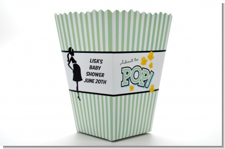 Ready To Pop Green - Personalized Baby Shower Popcorn Boxes