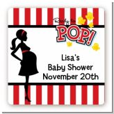 Ready To Pop - Square Personalized Baby Shower Sticker Labels