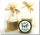 Ready To Pop Stripes - Baby Shower Gold Tin Candle Favors