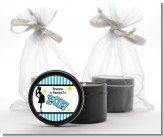 Ready To Pop Teal - Baby Shower Black Candle Tin Favors