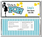 Ready To Pop Teal - Personalized Baby Shower Candy Bar Wrappers