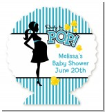 Ready To Pop Teal - Personalized Baby Shower Centerpiece Stand