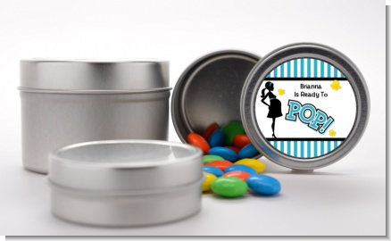 Ready To Pop Teal - Custom Baby Shower Favor Tins