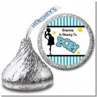 Ready To Pop Teal - Hershey Kiss Baby Shower Sticker Labels
