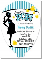 Ready To Pop Teal - Baby Shower Shaped Invitations