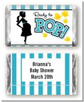 Ready To Pop Teal - Personalized Baby Shower Mini Candy Bar Wrappers