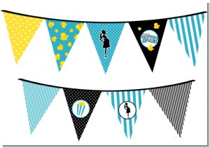Ready To Pop Teal - Baby Shower Themed Pennant Set