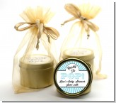 Ready To Pop Teal Stripes - Baby Shower Gold Tin Candle Favors