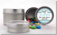 Ready To Pop Teal Stripes - Custom Baby Shower Favor Tins
