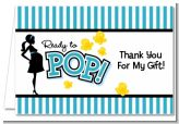 Ready To Pop Teal - Baby Shower Thank You Cards