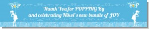 She's Ready To Pop Blue - Personalized Baby Shower Banners