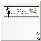 Ready To Pop Blue - Baby Shower Return Address Labels