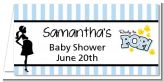 Ready To Pop Blue - Personalized Baby Shower Place Cards