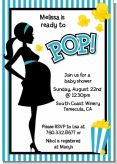 Ready To Pop Teal - Baby Shower Invitations