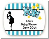 Ready To Pop Teal - Personalized Baby Shower Rounded Corner Stickers