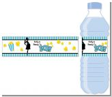 Ready To Pop Teal - Personalized Baby Shower Water Bottle Labels