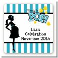 Ready To Pop Teal - Square Personalized Baby Shower Sticker Labels thumbnail