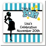 Ready To Pop Teal - Square Personalized Baby Shower Sticker Labels