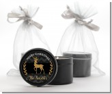Reindeer Gold Glitter - Christmas Black Candle Tin Favors