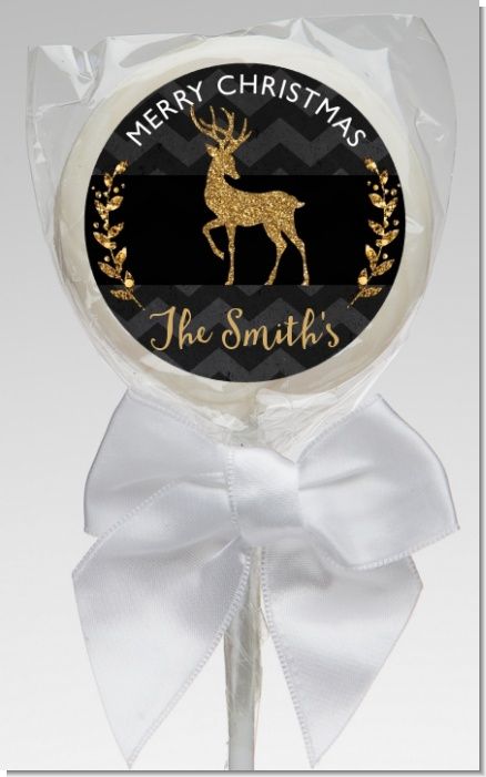 Reindeer Gold Glitter - Personalized Christmas Lollipop Favors