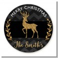 Reindeer Gold Glitter - Round Personalized Christmas Sticker Labels thumbnail