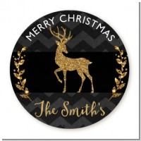 Reindeer Gold Glitter - Round Personalized Christmas Sticker Labels