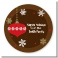 Retro Ornaments - Round Personalized Christmas Sticker Labels thumbnail