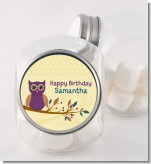 Retro Owl - Personalized Birthday Party Candy Jar