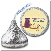 Retro Owl - Hershey Kiss Birthday Party Sticker Labels