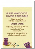 Retro Owl - Birthday Party Petite Invitations