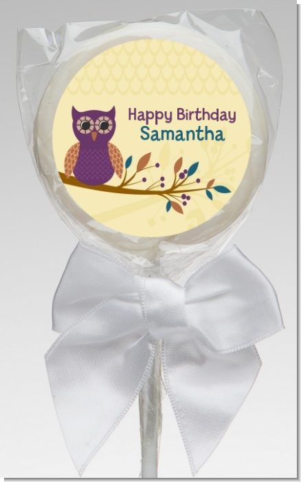 Retro Owl - Personalized Birthday Party Lollipop Favors