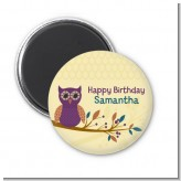 Retro Owl - Personalized Birthday Party Magnet Favors