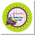 Retro Roller Skate Party - Round Personalized Birthday Party Sticker Labels thumbnail