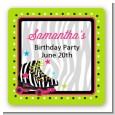 Retro Roller Skate Party - Square Personalized Birthday Party Sticker Labels thumbnail