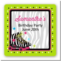 Retro Roller Skate Party - Square Personalized Birthday Party Sticker Labels