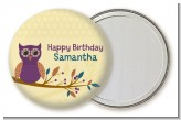 Retro Owl - Personalized Birthday Party Pocket Mirror Favors