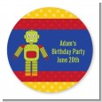 Robot Party - Round Personalized Birthday Party Sticker Labels thumbnail