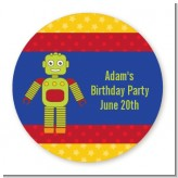 Robot Party - Round Personalized Birthday Party Sticker Labels