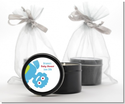 Robots - Baby Shower Black Candle Tin Favors