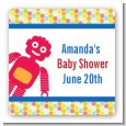 Robots - Square Personalized Baby Shower Sticker Labels thumbnail