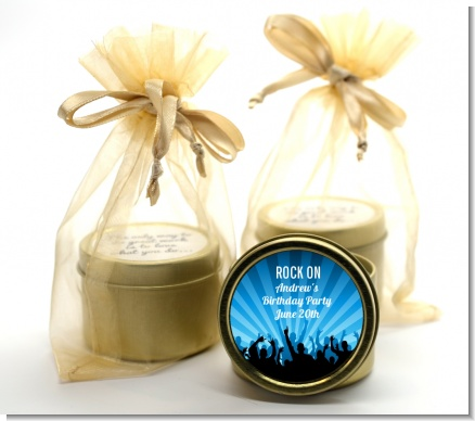 Rock Band | Like A Rock Star Boy - Birthday Party Gold Tin Candle Favors