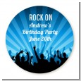Rock Band | Like A Rock Star Boy - Round Personalized Birthday Party Sticker Labels thumbnail