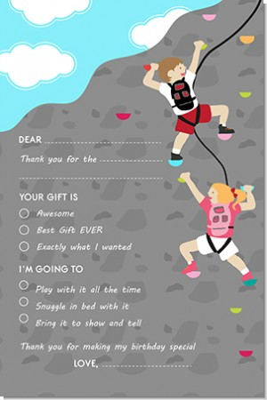 Rock Climbing - Birthday Party Fill In Thank You Cards