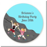 Rock Climbing - Round Personalized Birthday Party Sticker Labels
