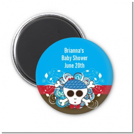 Rock Star Baby Boy Skull - Personalized Baby Shower Magnet Favors